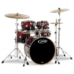 PDP by DW Concept Maple CM5 Studio Red to Black Sparkle Fade