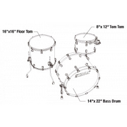 Tama Starclassic Maple 3-piece shell pack with 22 bass drum, Chrome Shell Hardware