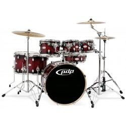 PDP by DW Concept Maple CM7 Rojo to Black Sparkle + Set de Herrajes