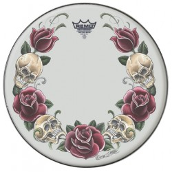 Remo 14 Suede Tattoo Rock and Roses TT-0814-AX-T05
